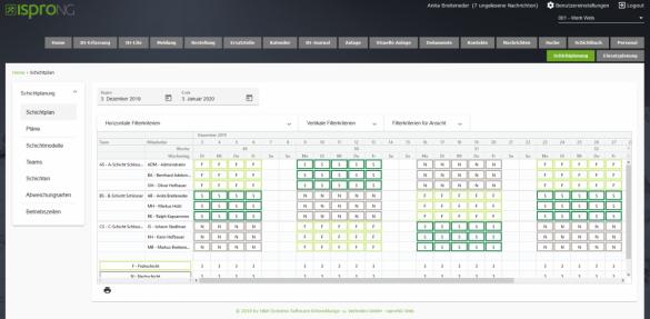 isproNG Schichtplan im Webportal